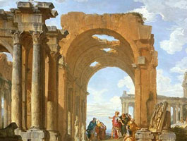 Giovanni Paolo Panini,  Architectural Capriccio with Figures Discoursing Among Roman Ruins  (detail), 1730.
